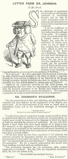 Punch cartoon: Letter from Dr Johnson to Mr Punch. Illustration for Punch, Volume 37, July – December 1859.