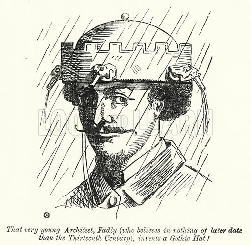 Punch cartoon: That very young architect, Fadly (who believes in nothing of later date than the Thirteenth Century), invents a Gothic Hat! Illustration for Punch, Volume 40, January - June 1861.