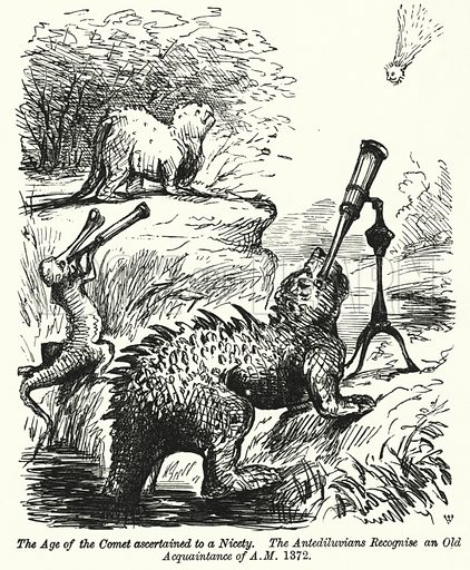 Punch cartoon: dinosaurs watching a comet. Illustration for Punch, Volume 41, July - December 1861.
