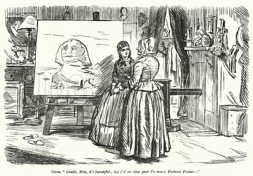 Punch cartoon: domestic servant admiring a painting of the Sphinx
