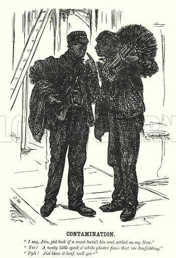 Punch cartoon: Contamination - two chimney sweeps. Illustration for Punch, Volume 44, January - June 1863.