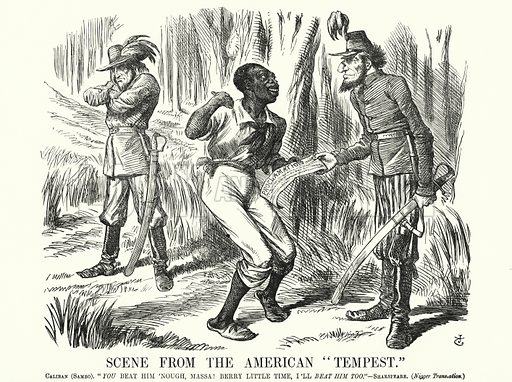 "Punch cartoon: Scene from the American ""Tempest"" - the American Civil War. Illustration for Punch, Volume 44, January - June 1863."