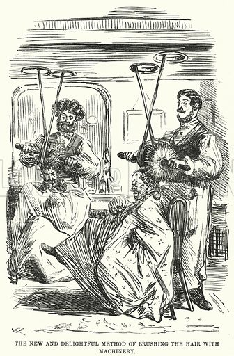 Punch cartoon: The New and Delightful Method of Brushing the Hair with Machinery. Illustration for Punch, Volume 45, July - December 1863.