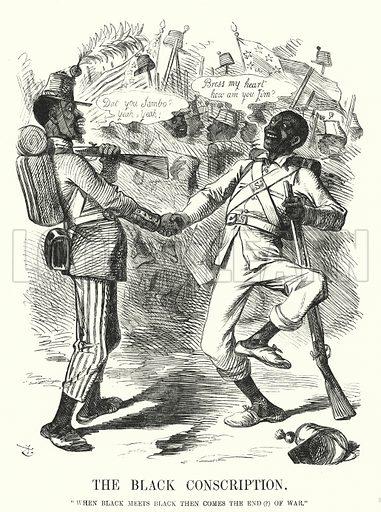 Punch cartoon: The Black Conscription - American Civil War. Illustration for Punch, Volume 45, July - December 1863.