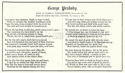 Punch cartoon: poem in memoriam of American financier and philanthopist George Peabody (1795-1869). Illustration for Punch, Volume 57, July - December 1869.