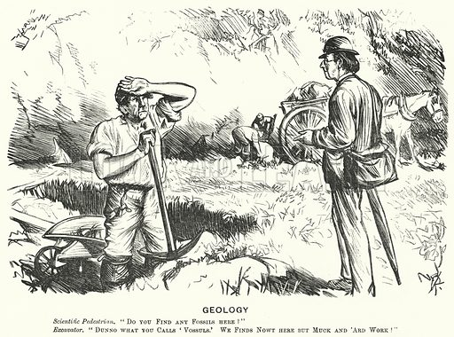 Punch cartoon: Geology. Illustration for Punch, Volume 58, January - June 1870.