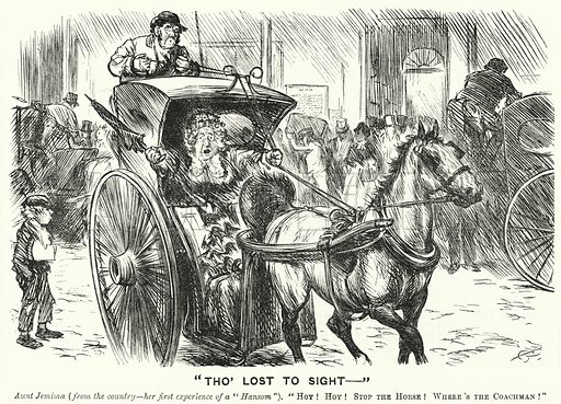 Punch cartoon: A woman from the countryside having her first experience of a ride in a Hansom Cab in London. Illustration for Punch, Volume 58, January – June 1870.
