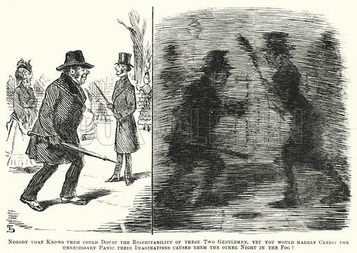 Punch cartoon: fog in London in Victorian times