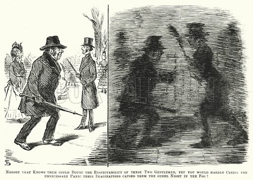 Punch cartoon: fog in London in Victorian times. Illustration for Punch, Volume 58, January – June 1870.