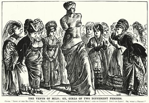 Punch cartoon: The Venus of Milo; or, Girls of Two Different Periods. Illustration for Punch, Volume 58, January - June 1870.