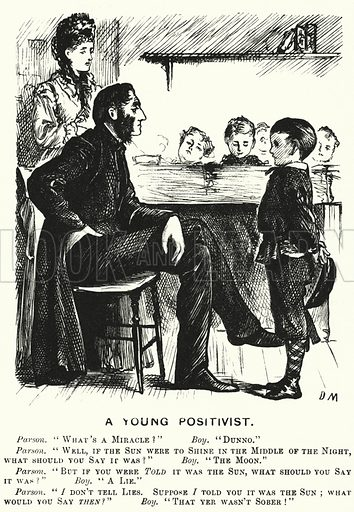Punch cartoon: A Young Positivist. Illustration for Punch, Volume 61, July - December 1871.
