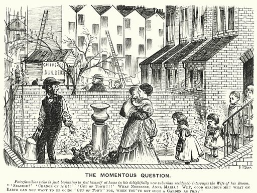 Punch cartoon: The Momentous Question. Illustration for Punch, Volume 61, July - December 1871.