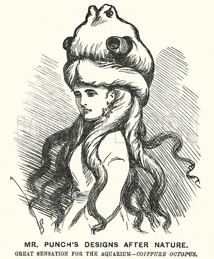 Punch cartoon: Mr Punch's Designs after Nature. Great Sensation for the Aquarium - Coiffure Octopus. Illustration for Punch, Volume 64, January - June 1873.