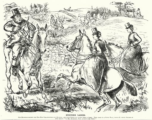 Punch cartoon: Hunting Ladies. Illustration for Punch, Volume 64, January - June 1873.