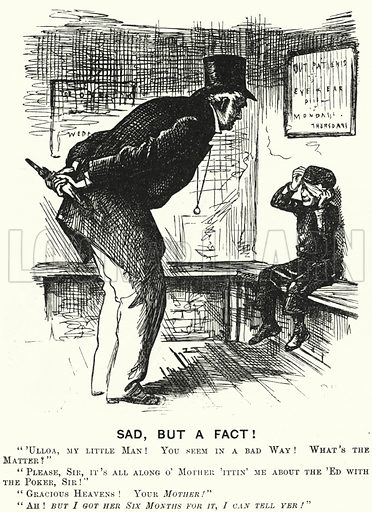 Punch cartoon: Sad, but a Fact! - a battered child. Illustration for Punch, Volume 65, July - December 1873.
