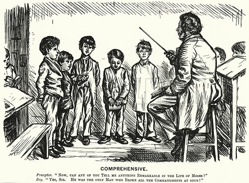 Punch cartoon: Comprehensive - religious education lesson. Illustration for Punch, Volume 66, January - June 1874.