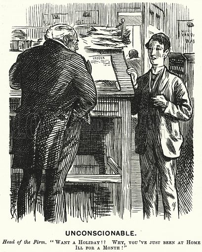 Punch cartoon: Unconscionable. Illustration for Punch, Volume 67, July - December 1874.