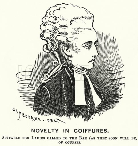 Punch cartoon: Novelty in Coiffures. Illustration for Punch, Volume 68, January - June 1875.