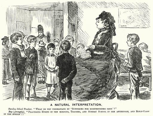 Punch cartoon: A Natural Interpretation – Sunday school scene. Illustration for Punch, Volume 68, January – June 1875.