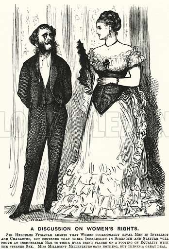 Punch cartoon: A Discussion on Women's Rights. Illustration for Punch, Volume 69, July - December 1875.