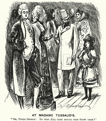 Punch cartoon: At Madame Tussaud's. Illustration for Punch, Volume 70, January - June 1876.