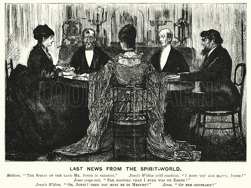 Punch cartoon: Last News from the Spirit World. Illustration for Punch, Volume 70, January - June 1876.