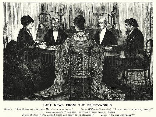 Punch cartoon: Last News from the Spirit World. Illustration for Punch, Volume 70, January - June 1876.
