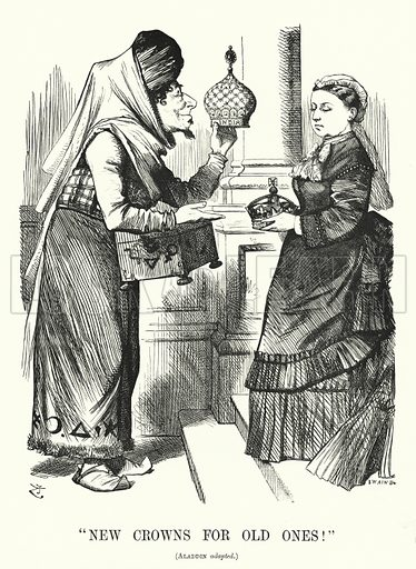 Punch cartoon: New Crowns for Old Ones. Benjamin Disraeli (as Aladdin) with Queen Victoria – the Royal Titles Act 1876 recognising the Queen as Empress of India. Illustration for Punch, Volume 70, January – June 1876.