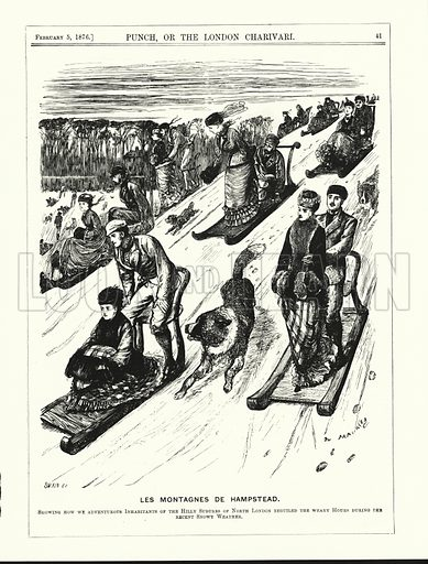 Punch cartoon: Les Montagnes de Hampstead - tobogganing on Hampstead Heath, London. Illustration for Punch, Volume 70, January - June 1876.
