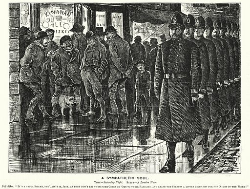 Punch cartoon: A Sympathetic Soul – policing the London slums. Illustration for Punch, Volume 72, January – June 1877.