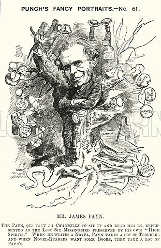 Punch cartoon: James Payn (1830–1898), English novelist. Illustration for Punch, Volume 81, July – December 1881.