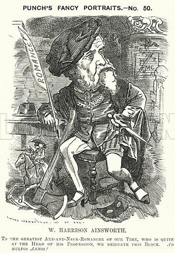 Punch cartoon: William Harrison Ainsworth (1805-1882), English historical novelist. Illustration for Punch, Volume 81, July - December 1881.