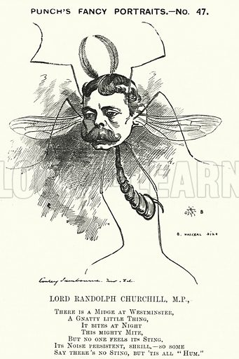 Punch cartoon: Lord Randolph Churchill (1849-1895), English Conservative politician. Illustration for Punch, Volume 81, July - December 1881.