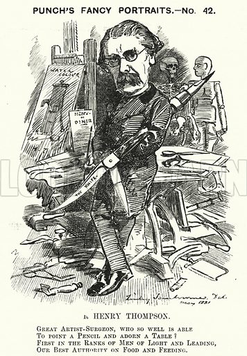 Punch cartoon: Sir Henry Thompson (1820-1904), English surgeon. Illustration for Punch, Volume 81, July - December 1881.
