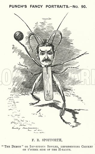 Punch cartoon: Fred Spofforth (1853-1926), Australian cricketer. Illustration for Punch, Volume 82, January - July 1882.