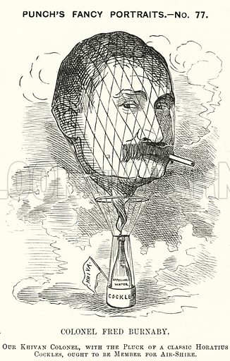 Punch cartoon: Frederick Burnaby (1842–1885), British Army intelligence officer and balloonist. Illustration for Punch, Volume 82, January – July 1882.
