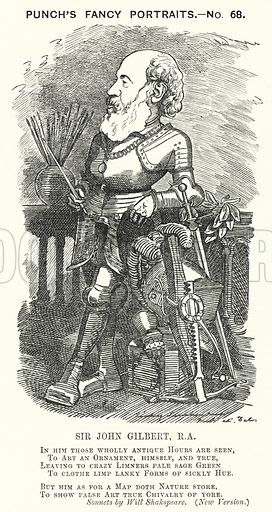 Punch cartoon: Sir John Gilbert (1817-1897), English artist. Illustration for Punch, Volume 82, January - July 1882.