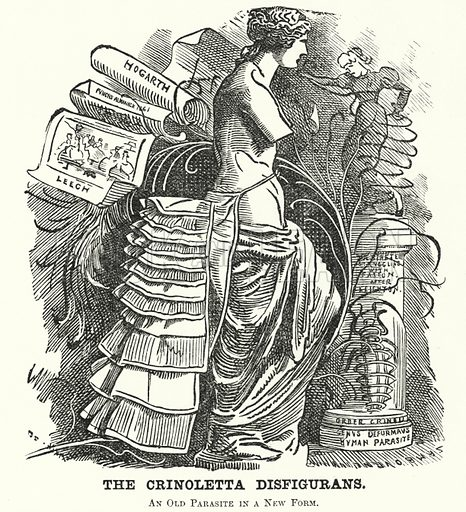 Punch cartoon: The Crinoletta Disfigurans. Illustration for Punch, Volume 82, January – July 1882.