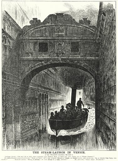 Punch cartoon: The Steam Launch in Venice. Illustration for Punch, Volume 82, January - July 1882.