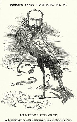 Punch cartoon: Edmond Fitzmaurice, 1st Baron Fitzmaurice, English Liberal politician. Illustration for Punch, Volume 84, January - June 1883.