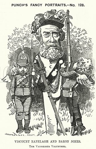 Punch cartoon: Thomas Heron Jones, 7th Viscount Ranelagh and Baron Jones of Navan, promoter of the volunteer movement for the British Army. Illustration for Punch, Volume 84, January - June 1883.