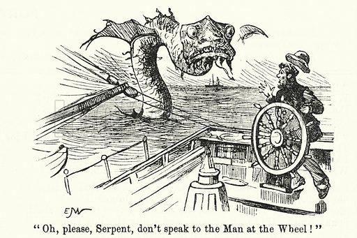 Punch cartoon: Helmsman of a ship menaced by a sea serpent. Illustration for Punch, Volume 89, July - December 1885.