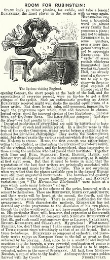 Punch cartoon: Anton Rubinstein (1829–1894), Russian pianist. Illustration for Punch, Volume 90, January – June 1886.