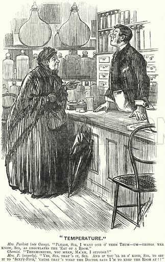 Punch cartoon: Temperature - elderly woman visiting a chemist's shop to buy a thermometer. Illustration for Punch, Volume 92, January - June 1887.