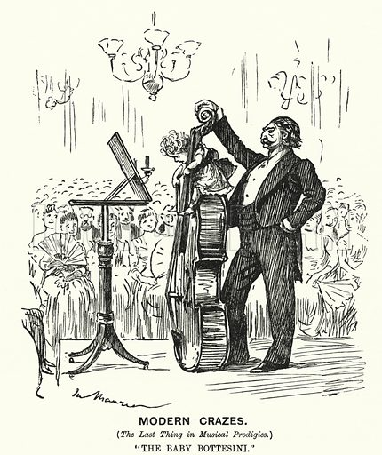 Punch cartoon: Modern Crazes (the Latest Thing in Musical Prodigies. The Baby Bottesini. Illustration for Punch, Volume 93, July - December 1887.