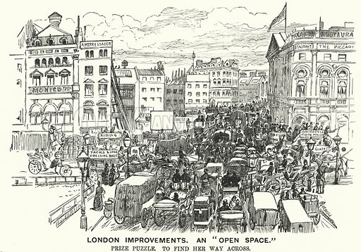 """Punch cartoon: London Improvements. An """"Open Space""""- traffic congestion in Victorian London. Illustration for Punch, Volume 94, January - June 1888."""