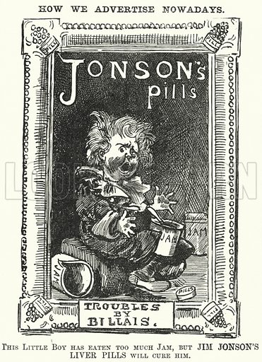 Punch cartoon: spoof advertisement for Jonson's Liver Pills based on John Everett Millais' painting 'Bubbles' used to advertise Pear's Soap. Illustration for Punch, Volume 95, July - December 1888.