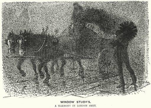 Punch cartoon: fog in Victorian London. Illustration for Punch, Volume 96, January – June 1889.