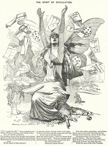 Punch cartoon: The Spirit of Speculation. Illustration for Punch, Volume 96, January - June 1889.