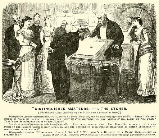 """Distinguished Amateurs"", The Etcher. Illustration for Punch, 17 January 1880."